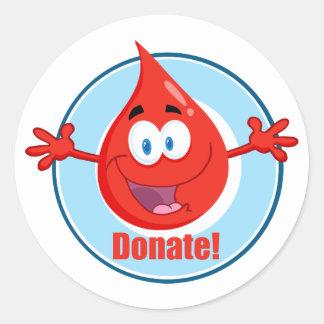 Done la sangre pegatina redonda