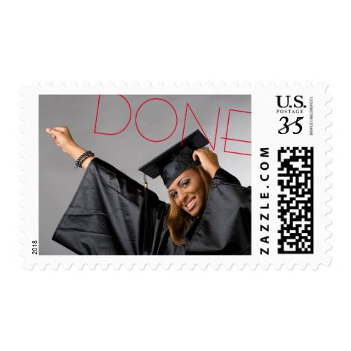 Done Red Graduation Photo - Postage Stamp