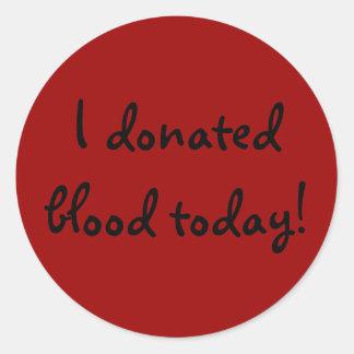 ¡Doné sangre hoy! Pegatina Redonda
