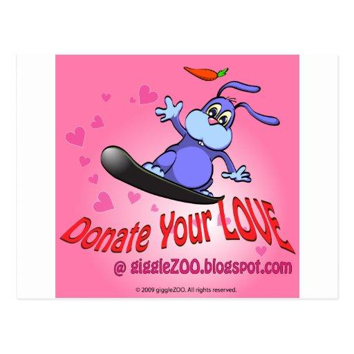 Done su amor con el conejito de la tarjeta del día postal