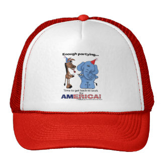 Donkey and Elephant Enough Partying Trucker Hat