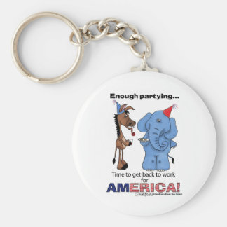 Donkey and Elephant Enough Partying! Keychain