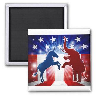 Donkey and Elephant Face Off Magnet