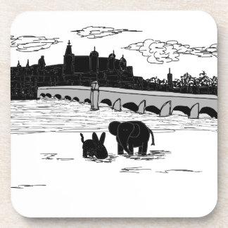 donkey and elephant in front of bridge beverage coaster