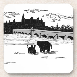 donkey and elephant in front of bridge drink coasters