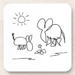 donkey and elephant look at a flower coasters