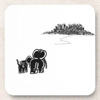 donkey and elephant look at city beverage coaster