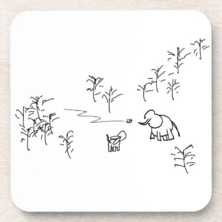 donkey and elephant look at flying insect drink coaster