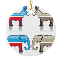 Donkey and Elephant Political Parties Ceramic Ornament