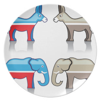 Donkey and Elephant Political Parties Dinner Plate