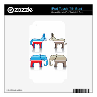 Donkey and Elephant Political Parties iPod Touch 4G Decals