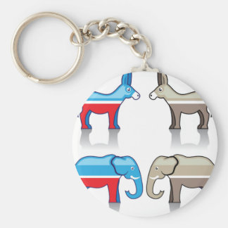 Donkey and Elephant Political Parties Keychain
