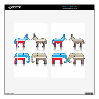 Donkey and Elephant Political Parties Kindle Fire Decals