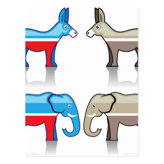 Donkey and Elephant Political Parties Postcard