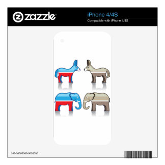 Donkey and Elephant Political Parties Skin For The iPhone 4