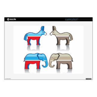 Donkey and Elephant Political Parties Skins For Laptops