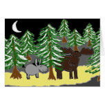 donkey and moose in snow greeting card