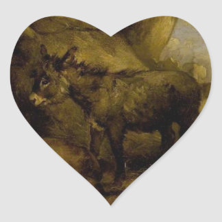 Donkey and Pigs by George Morland Heart Sticker