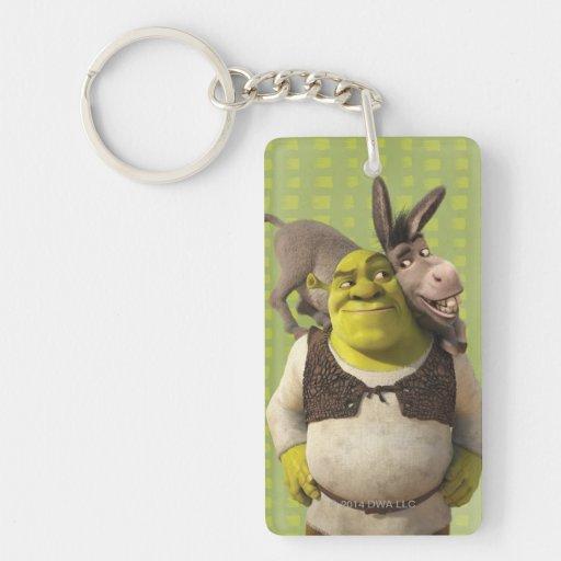 Donkey And Shrek Rectangle Acrylic Key Chain