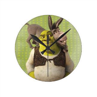 Donkey And Shrek Round Clock