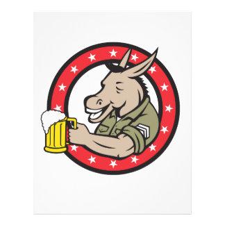 Donkey Beer Drinker Circle Retro Letterhead