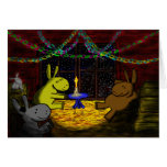 donkey christmas in barn loft greeting card