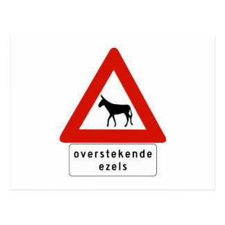 Donkey Crossing (2), Sign, Netherlands Antilles Postcard