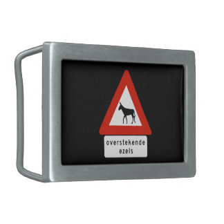 Donkey Crossing (2), Sign, Netherlands Antilles Rectangular Belt Buckle