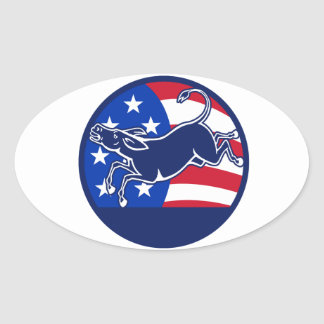 Donkey Democrat Flag Oval Sticker