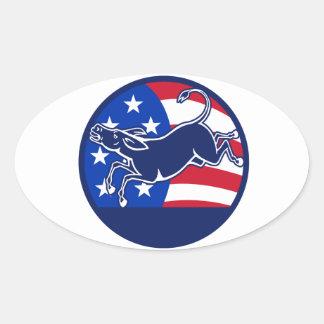 Donkey Democrat Flag Oval Stickers