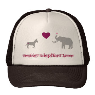 Donkey Elephant Love Cap Hats