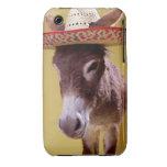 Donkey (Equus hemonius) wearing straw hat Case-Mate iPhone 3 Case