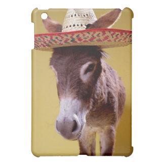Donkey (Equus hemonius) wearing straw hat Cover For The iPad Mini