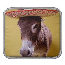 Donkey (Equus hemonius) wearing straw hat iPad Sleeve