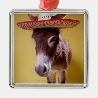 Donkey (Equus hemonius) wearing straw hat Metal Ornament