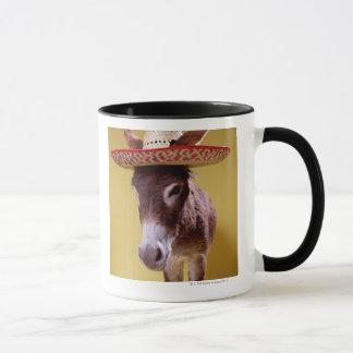 Donkey (Equus hemonius) wearing straw hat Mug