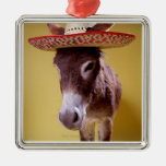 Donkey (Equus hemonius) wearing straw hat Ornament