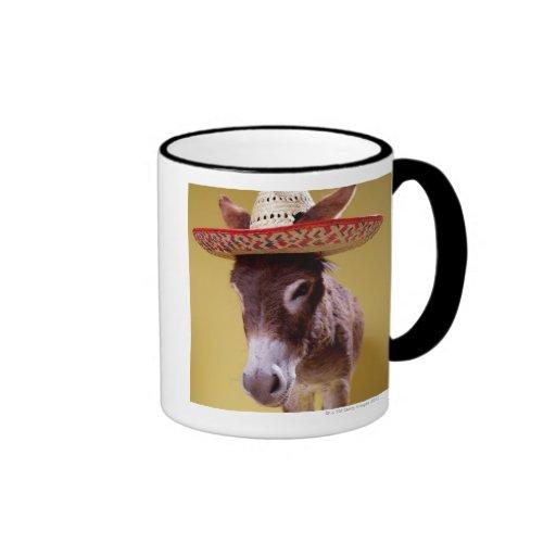 Donkey (Equus hemonius) wearing straw hat Ringer Mug