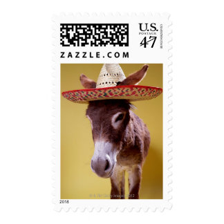 Donkey (Equus hemonius) wearing straw hat Stamp