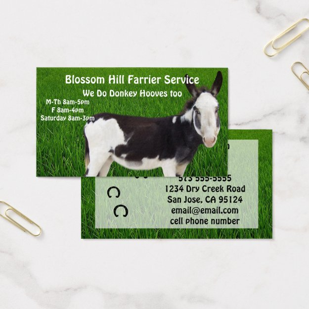 Donkey Farrier Business Card