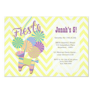 Donkey Fiesta Pinata Kids Chevron Birthday Party 5x7 Paper Invitation Card