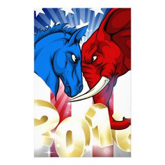 Donkey Fighting Elephant 2016 American Politics Stationery