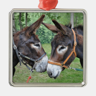 Donkey friends square metal christmas ornament