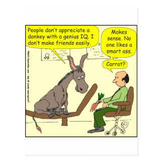 donkey genius smart a color cartoon postcards