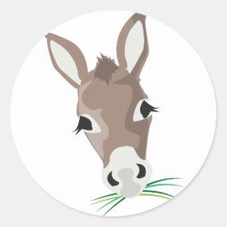 Donkey Head Classic Round Sticker