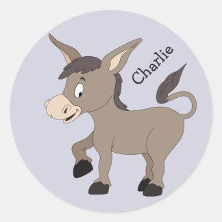 Donkey illustration custom name kids' stickers