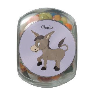 Donkey illustration custom name tins & jars glass jar
