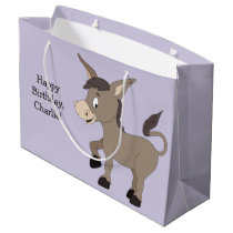 Donkey illustration custom text gift bag