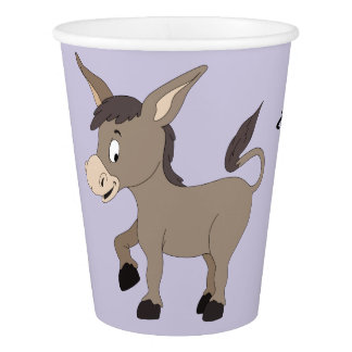 Donkey illustration custom text paper cups