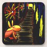 donkey in alley under lamplight drink coaster